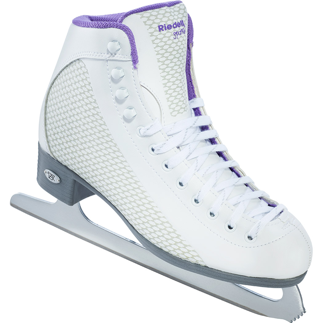 Riedell 113 Sparkle Ladies Figure Skates With GR4 Blade (White/Violet)